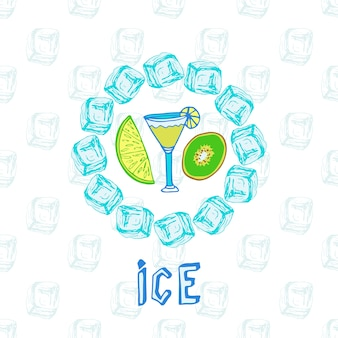Cocktail sketches with kiwi and lime. ice frame. vector illustration.