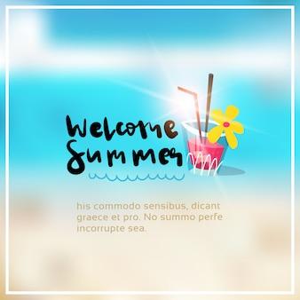 Cocktail summer blurred sea bokeh beach frame design