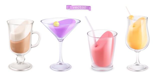 Cocktail in a transparent glass 3d set