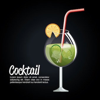 Cocktail tropical poster bar icon