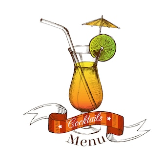 Cocktail with lime, straw, umbrella and ribbon