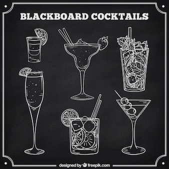 Cocktails collection in blackboard style