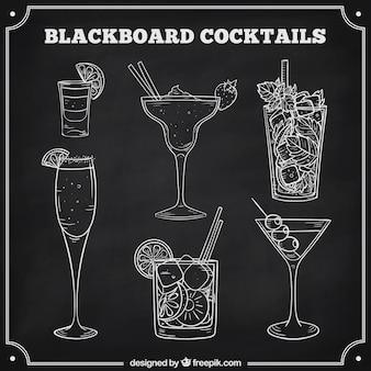 Collezione di cocktail in stile lavagna