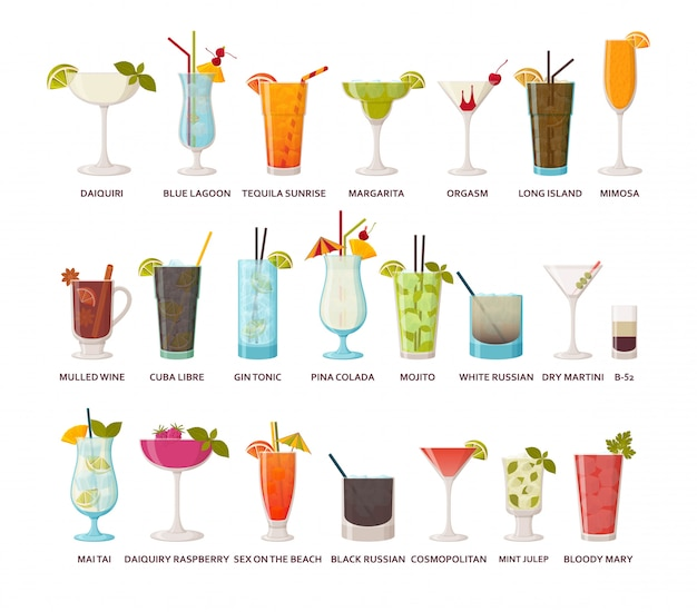 Cocktails collection. classic and tropical alcoholic drinks, long drinking and shots.  illustration.