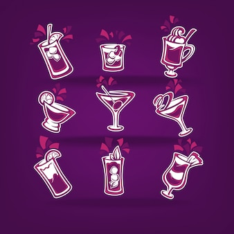 Коллекция коктейлей для вашего праздничного меню на темно-фиолетовом
