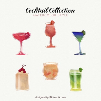 Cocktails collection in watercolor style