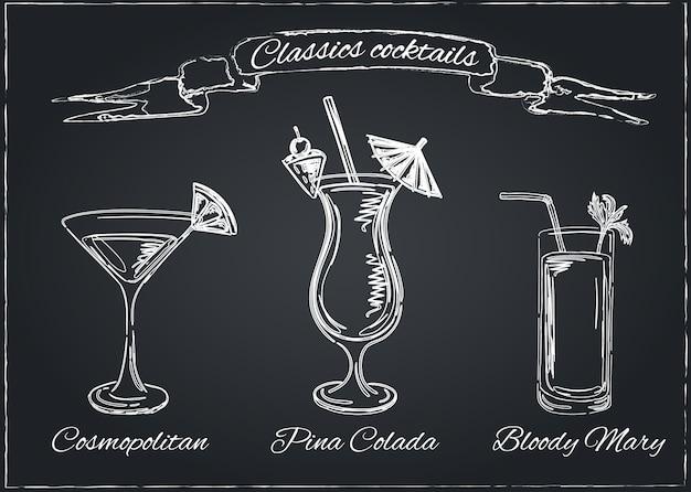 Коллекция коктейлей. векторный набор