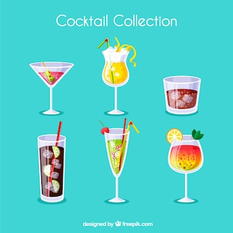 Cocktails collection with different juices