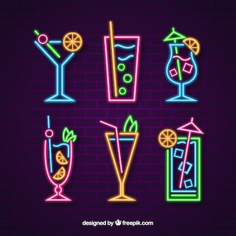 Cocktails collection with neon light