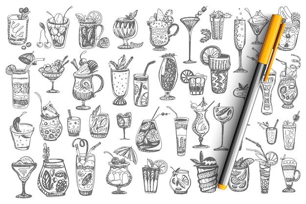 Cocktails doodle set. collection of different alcoholic summer tropical beverages beer vodka wine