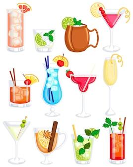 Cocktails drink vector set
