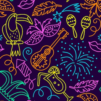 Cocktails and fireworks seamless carnival pattern