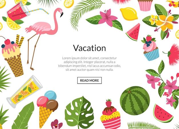 Коктейли, фламинго, пальмовые листья иллюстрация