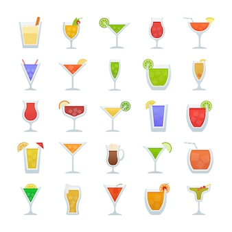 Cocktails flat vector icons