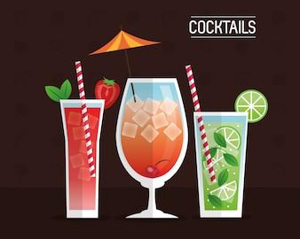 Cocktails glasses drink black background