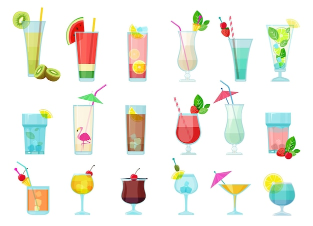 カクテル。グラスとアルコール飲料透明なカクテルミックスとフルーツマルガリータウォッカマティーニサンブーカ