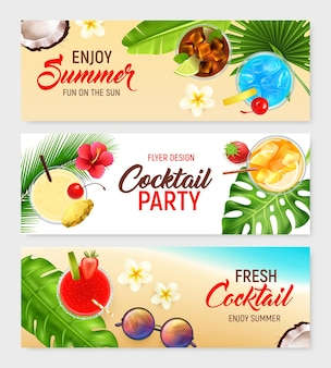 Cocktails horizontal banners set with cocktail party illustration