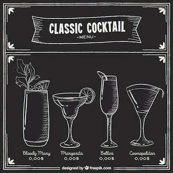 Menù di cocktail in stile lavagna