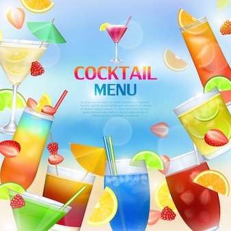 Cocktails menu concept