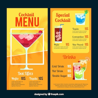 Cocktails menu template in flat style