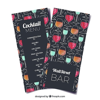 Cocktails menu template in watercolor style