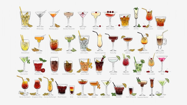 Cocktails set. every day alcoholic unforgettable pina colada americano bloody mary paradise.