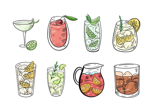Cocktails set. flat colorful  illustration. isolated on white background.