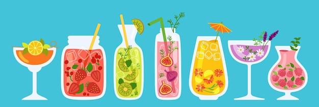 カクテル、夏の水差し、瓶とガラスジュースの漫画セット。トロピカルストロベリーレモネードと紅茶とオレンジのフレッシュスムージー