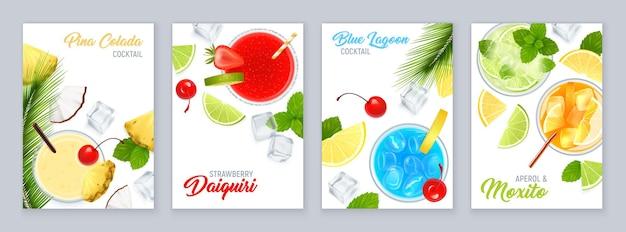 Коктейли, вид сверху, набор плакатов с тропическими фруктами и реалистичной иллюстрацией