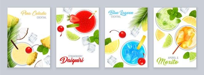 Poster di vista dall'alto di cocktail con frutta tropicale e illustrazione realistica