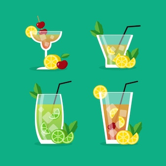 Cocktails vector set illustration