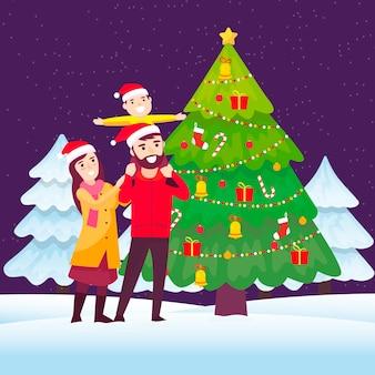 フラットなデザインでクリスマス家族シーンcocnept