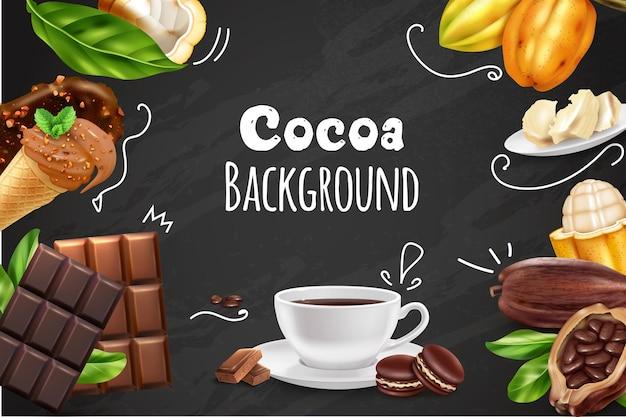 다양한 종류의 초콜릿의 사실적인 이미지와 코코아 배경
