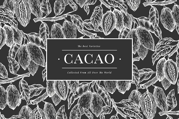 ココアバナーテンプレート。チョコレートカカオ豆の背景。チョークボードに描かれたイラストを手します。ビンテージスタイルの図。