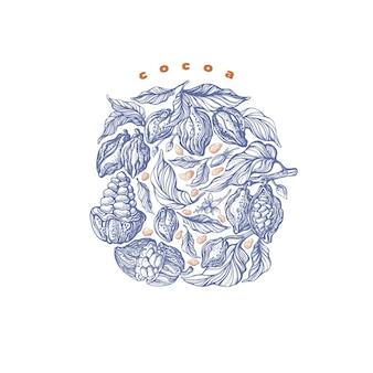 カカオ豆の枝ラウンドアートワークステッカーヴィンテージ手描きパッケージアロマチョコレート