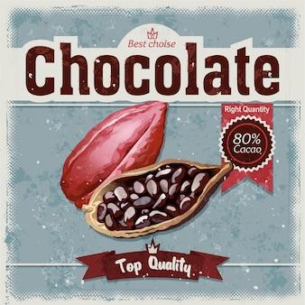 Бобы какао на фоне гранж.