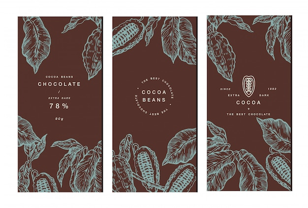 Cocoa bean tree banner collection.  templates. engraved style illustration. chocolate cocoa beans.  illustration