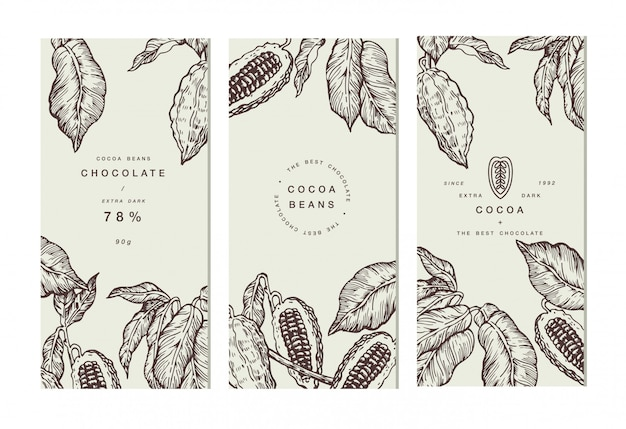 ココア豆の木のバナーコレクション。