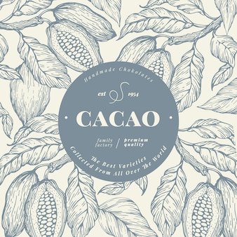 Cocoa bean tree banner template. chocolate cocoa beans background.