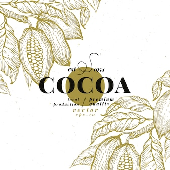Cocoa bean tree design template. chocolate cocoa beans background
