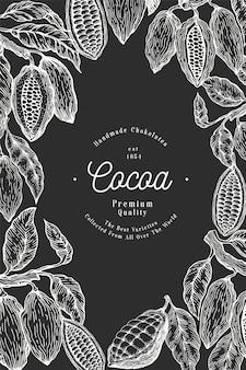 ココア豆の木のテンプレート。チョコレートのカカオ豆の背景。チョークボードに描かれたイラストを手します。ビンテージスタイルのイラスト。