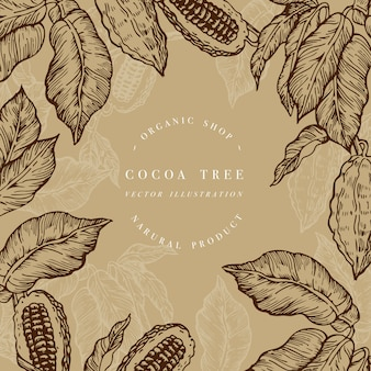 Cocoa bean tree  template. engraved style illustration. chocolate cocoa beans.  illustration