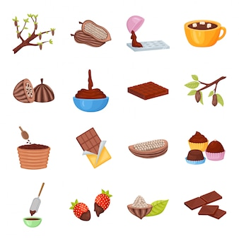 Cocoa bean vector cartoon icon set