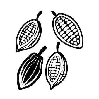 カカオ豆の黒いシンボル。白で隔離。
