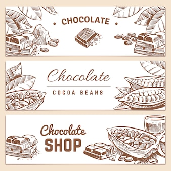 Cocoa beans, chocolate product horizontal vector banners set