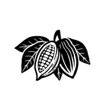 カカオ豆のアイコン。白い背景で隔離。