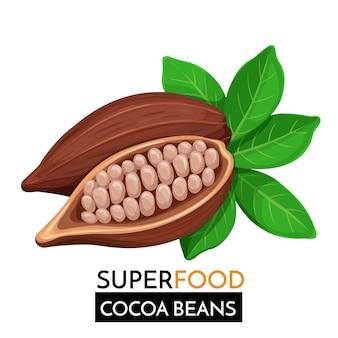 Какао-бобы значок.
