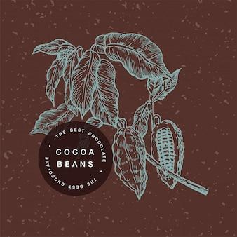 ココア豆の図。刻まれたスタイルの図。チョコレートカカオ豆。ベクトル図