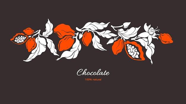 Ветка какао шоколад тропический урожай