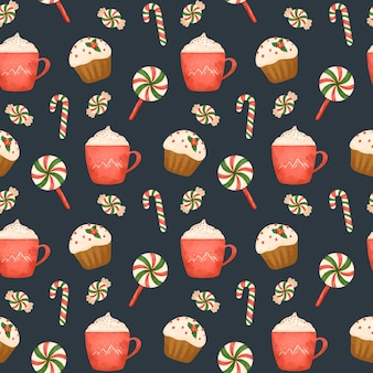 Cocoa cake and christmas candy seamless pattern